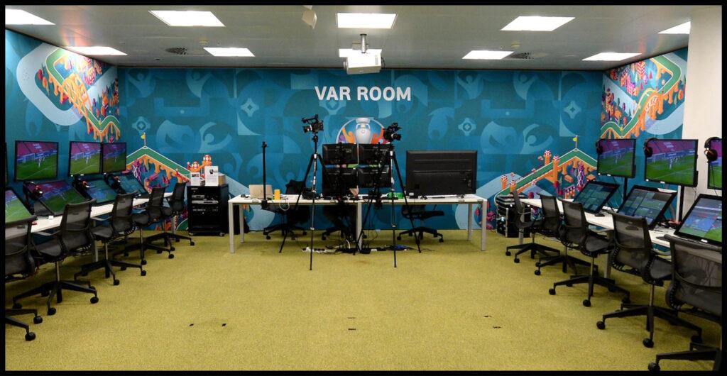 The UEFA VAR room in Nyon, Switzerland